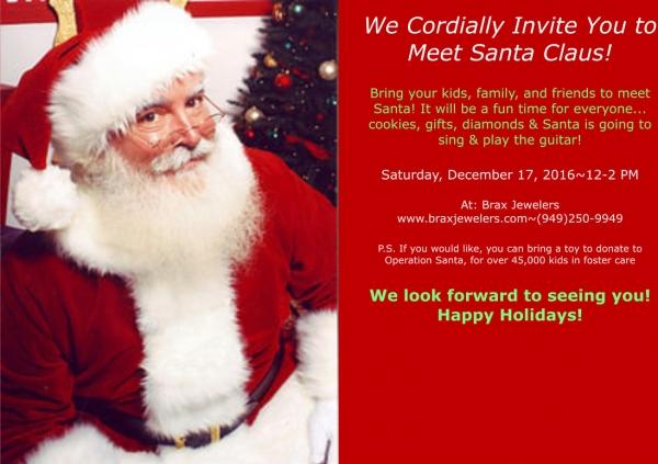 Come meet santa brax jewelers blog newport beach california we cordially invite you to meet santa claus m4hsunfo